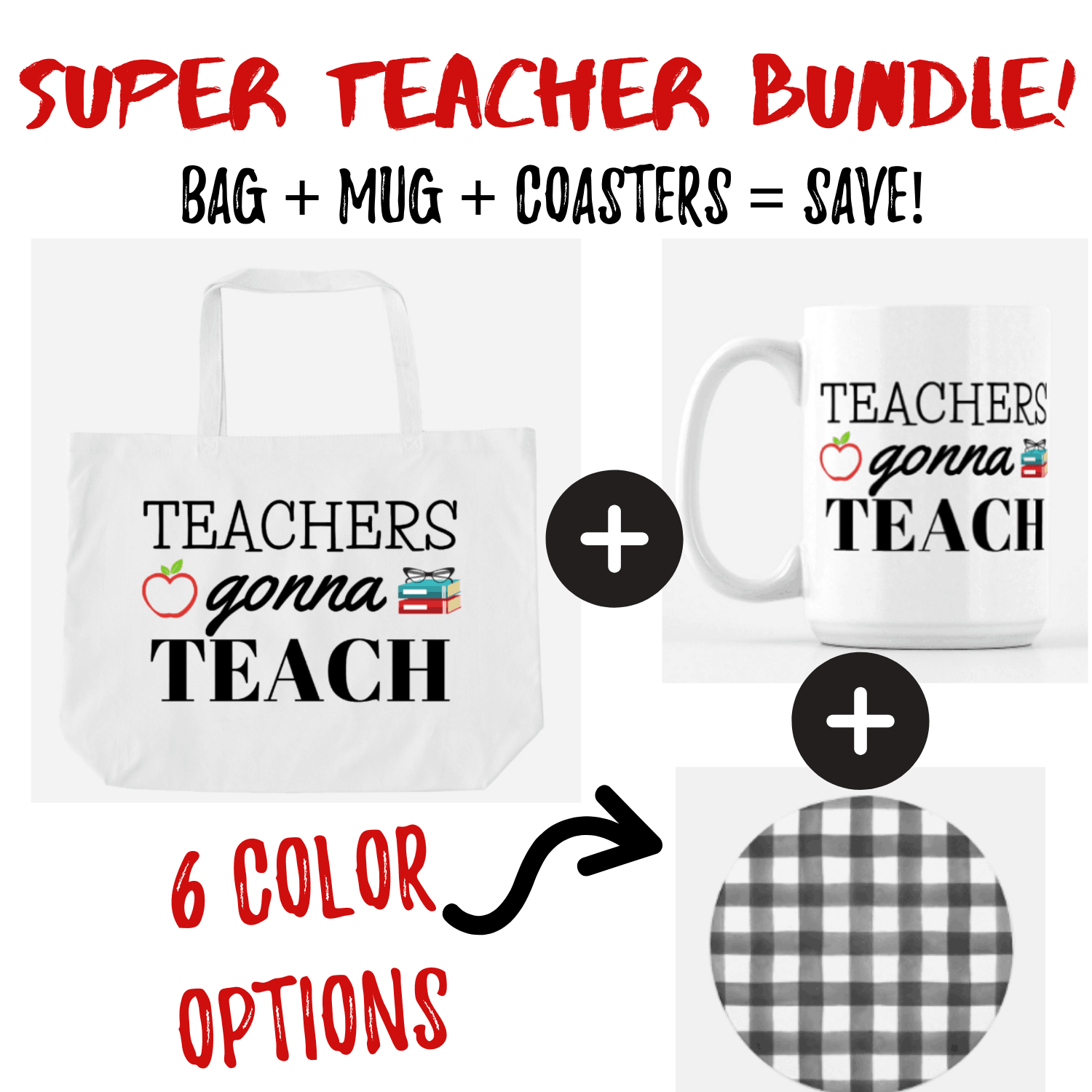 teacher-gift-ideas, gift ideas for teachers, affordable teacher gifts, teacher gift bundles, creative teacher gift ideas, teacher coffee mug, teacher bag, tote bag for teachers, teacher lesson plan books, teacher notebooks