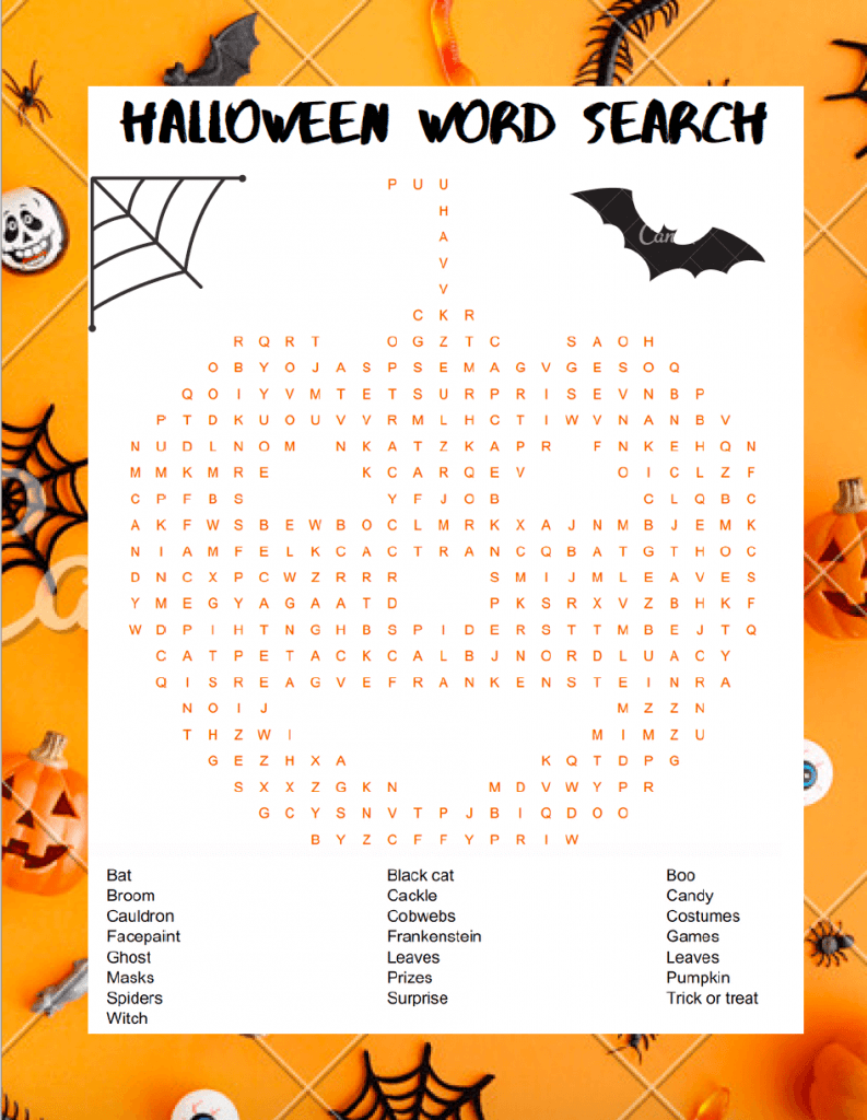 photograph regarding Halloween Wordsearch Printable called Cost-free Pumpkin-Fashioned Halloween Term Look Printable! - I Spy
