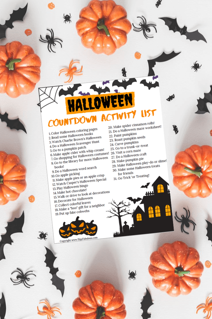 Halloween Thanksgiving Christmas Countdown.31 Days Of Halloween Activities For Kids Free Printable