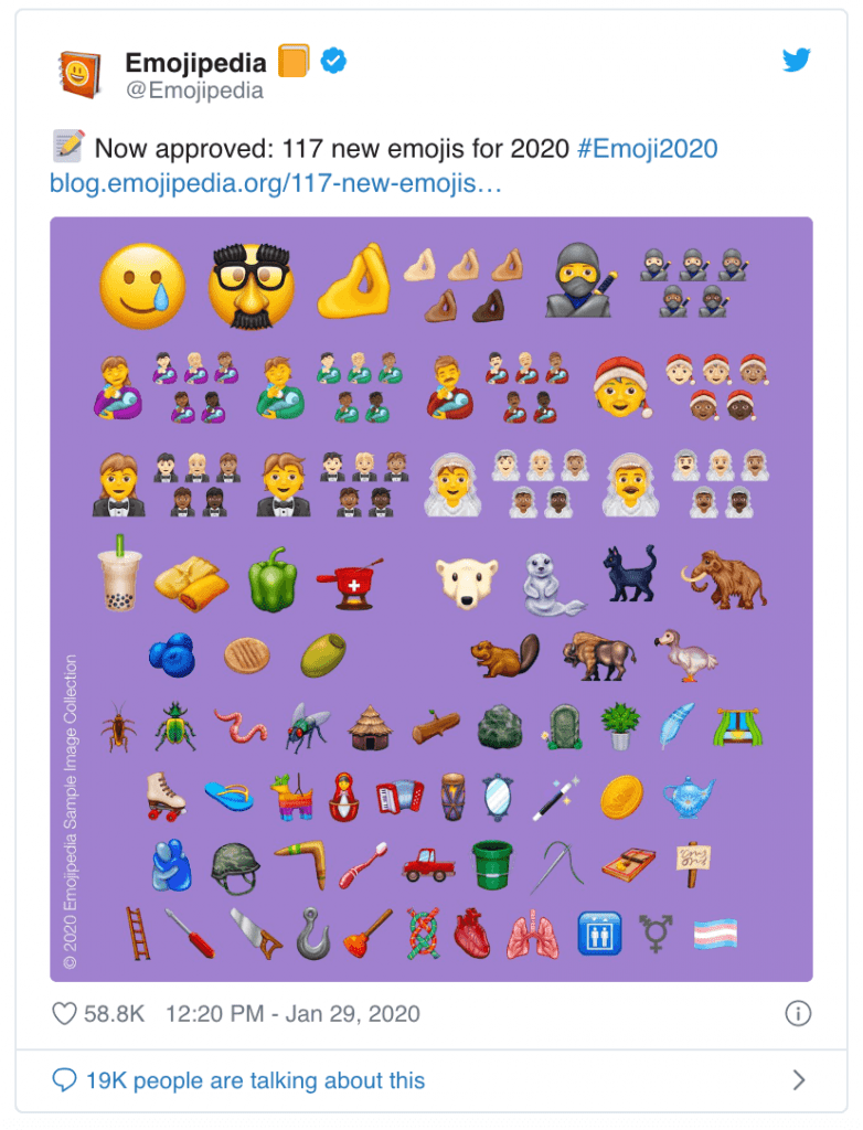 new emojis list for 2020