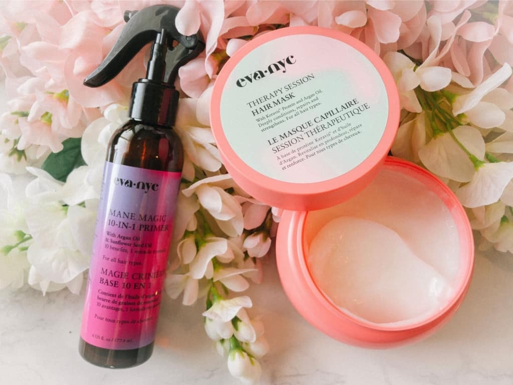 review of eva nyc hair products, such as the mane magic 10-in-1 primer and the eva nyc therapy session hair mask