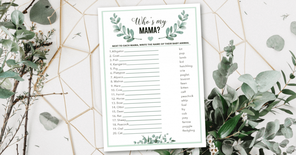 animal baby shower game