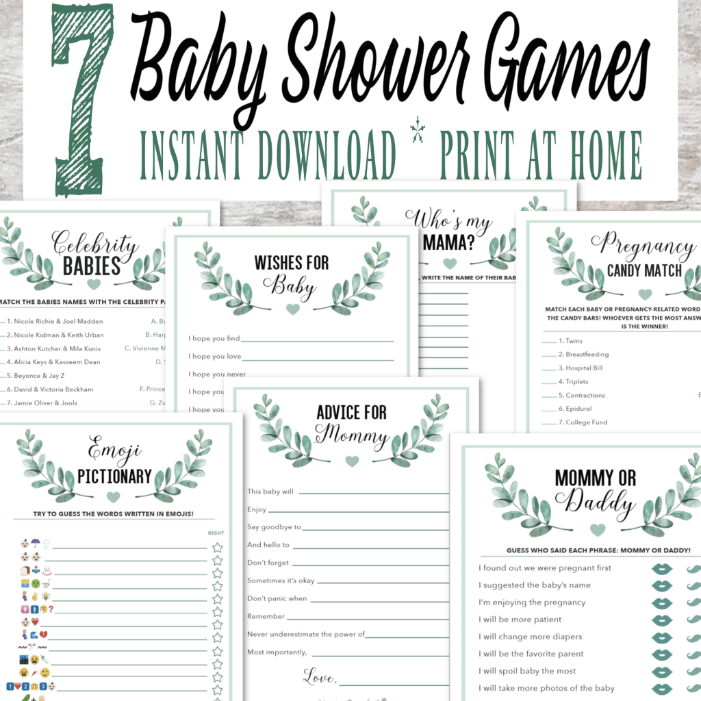 7 Matching Printable Baby Shower Games in a Gender Neutral ...