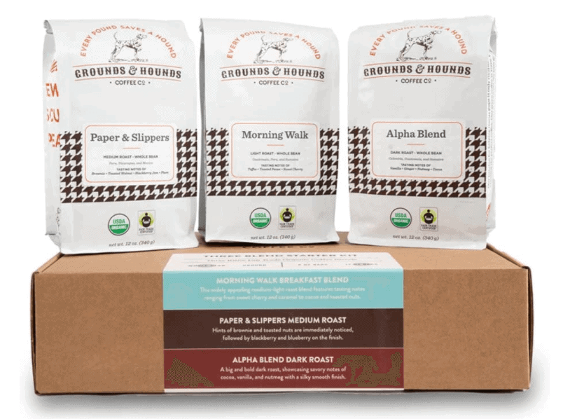 gifts for coffee lovers - grounds and hounds starter kit
