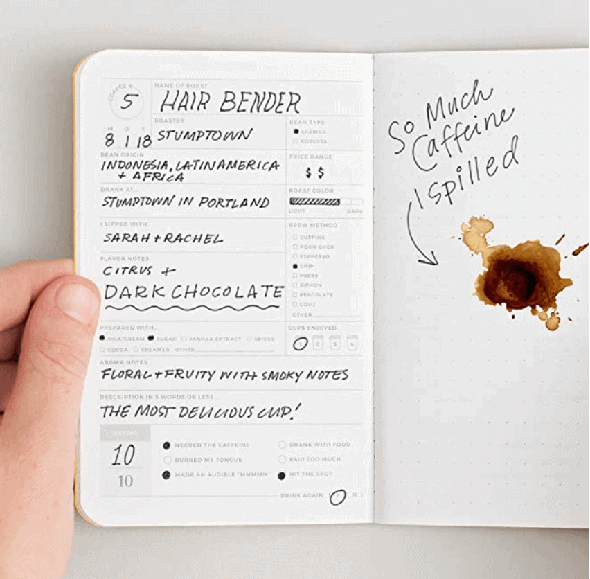 gifts for coffee lovers - coffee journal
