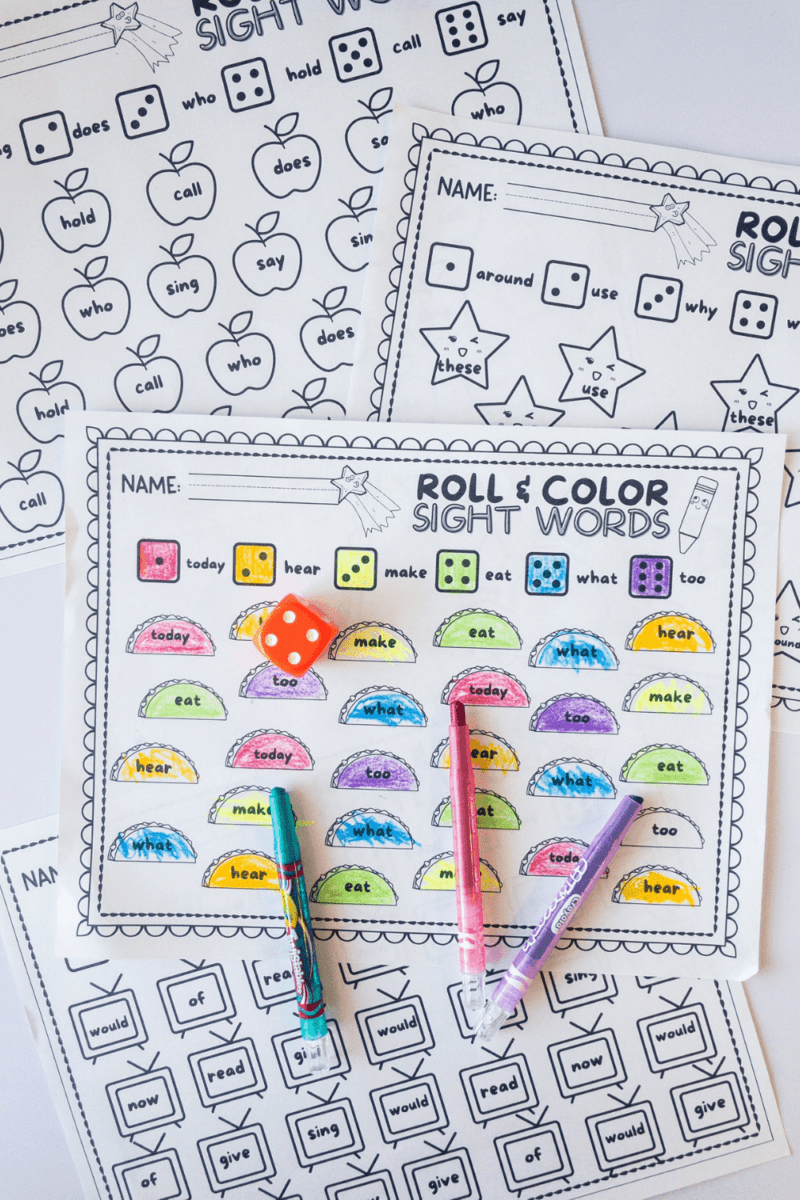 10 Roll & Color Sight Word Worksheets To Make Sight Words Fun!