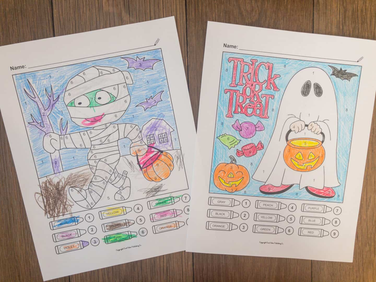 halloween color by number coloring pages