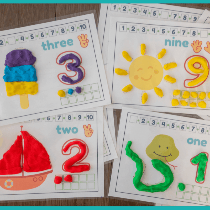 10 Number Play-Dough Mats with Ten Frames